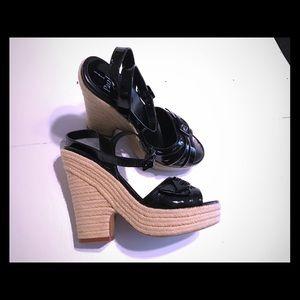 👡LINEA PAOLO black patent leather platform slide